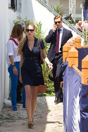This belted navy shirtdress was a classic fashion choice for Beatrice Borromeo.
