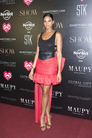 Alesha Dixon continued the flirty vibe with a pink ruffle-hem mullet skirt.