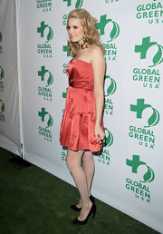 Maggie Grace donned pointy black leather pumps to the Global Green USA's Pre-Oscar party.