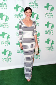 Danielle Vasinova wore this striped maxi-dress to the Global Green pre-Oscar party.