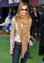 Trinny Woodall complemented her blue jeans with a glittery gold sequined jacket at the 'Gnomeo and Juliet' premiere.