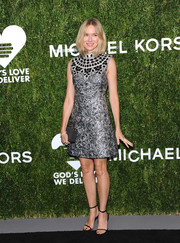 Naomi Watts looked opulent in a silver Michael Kors jacquard dress with an ornately beaded neckline at the 2018 Golden Heart Awards.