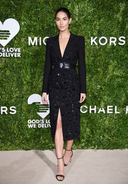 Lily Aldridge looked seriously stylish in a beaded black skirt suit by Michael Kors at the God's Love We Deliver, Golden Heart Awards.