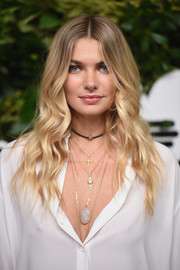 Jessica Hart was a boho beauty with her long center-parted waves at the Golden Heart Awards.
