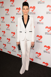 Julianna Margulies was menswear-chic at the Golden Heart Awards in a white Michael Kors tuxedo with black lapels and trim.