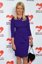 Blaine Trump Looked Very Classy In A Purple Michael Kors Tail Dress With Gathered Waist