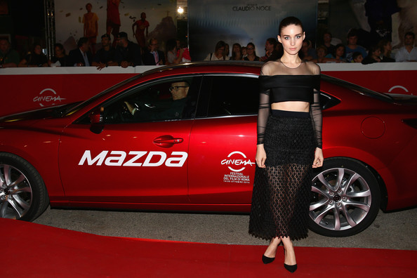 Rooney Mara wore a black Balenciaga crop-top with a sheer yoke and sleeves to the Rome Film Festival screening of 'Trash.'