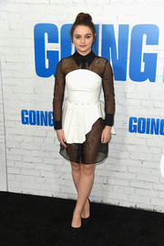 Joey King went daring in a black and white sheer-panel dress by 16Arlington at the New York premiere of 'Going in Style.'