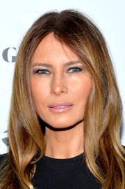 Melania Trump's light pink lipgloss added to the natural look of her makeup at the Spring Swing at Gold & Body event in NYC.