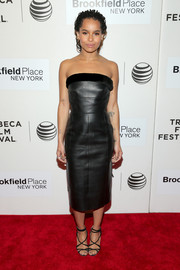 Zoe Kravitz was equal parts edgy and feminine in a strapless black leather dress by Balenciaga at the 'Good Kill' premiere.