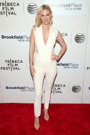 January Jones looked cool and sporty in a white sheer-panel jumpsuit by Prabal Gurung at the 'Good Kill' premiere.