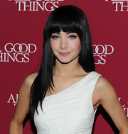 Ksenia showed off long straight locks and blunt cut bangs while attending the premiere of 'All Good Things'.