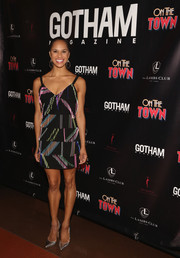 Misty Copeland sealed off her look with a pair of silver pumps.