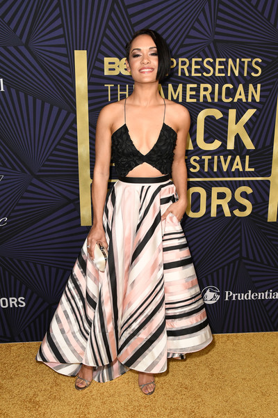 Grace Gealey Camisole [clothing,fashion model,dress,red carpet,fashion,shoulder,carpet,premiere,gown,fashion design,bet presents the american black film festival honors - arrivals,beverly hills,california,grace gealey]