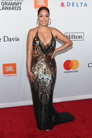 La La Anthony put on a curvy display in this ombre sequin halter gown by Jenny Packham at the Grammy Salute to Industry Icons.