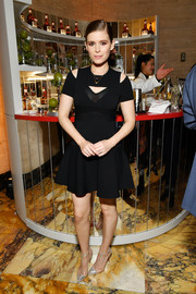 Kate Mara polished off her look with a pair of silver PVC pumps by Christian Louboutin.