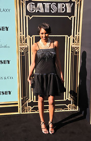 Alicia Quarles chose a thin-strapped LBD with a beaded bodice and a fit and flare skirt for her evening look.