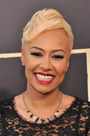 Emeli Sande tamed her fauxhawk and made it red carpet appropriate by adding some waves to it.