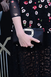Isla Fisher's black satin clutch had just a touch of pizazz with its crystal detailing.
