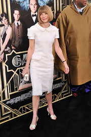 Anna Wintour's white tweed dress looked sophisticated and polished on the fashion icon.