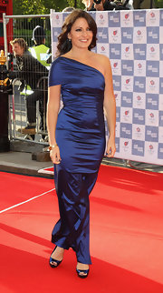 Davina McCall's one-shoulder gown and black peep-toes at the BOA Olympic Concert were a divine pairing.