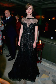 Keira Knightley looked darkly romantic in her sheer beaded gown at the Toronto International Film Festival.