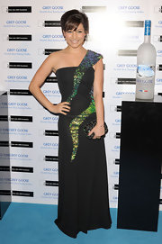 Roxanne Pallett was mod in a futuristic one-shoulder gown with sequined details.