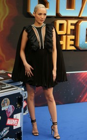 Pom Klementieff finished off her outfit with black ankle-tie sandals by Jimmy Choo.