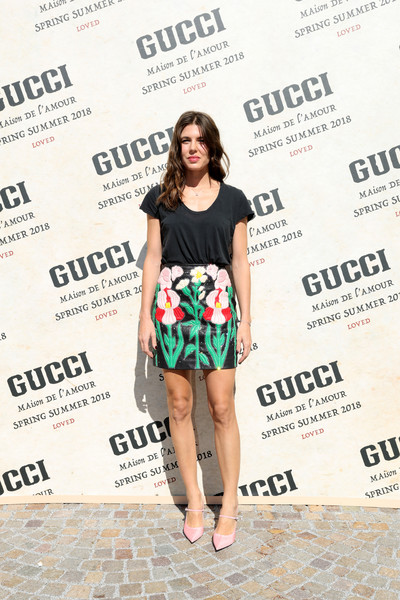 Charlotte Casiraghi opted for a dressed-down look with this black T-shirt when she attended the Gucci Spring 2018 show.