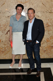 Garance Dore looked effortlessly stylish in a blue silk button-down during the Gucci Beauty launch event.