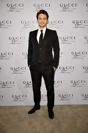 James Franco chose a classic two-button, notch-lapel suit for his look at the 'Gucci Made to Measure' launch.