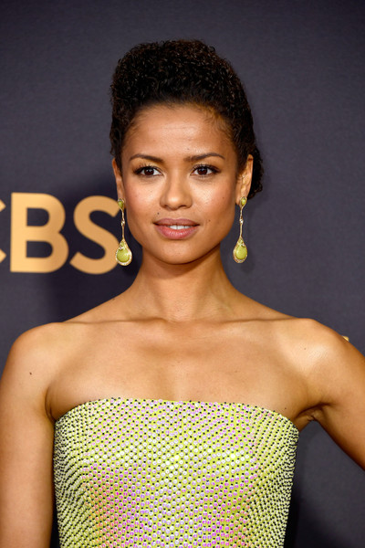 Gugu Mbatha-Raw Dangling Gemstone Earrings [hair,hairstyle,beauty,shoulder,lip,fashion model,dress,model,black hair,long hair,arrivals,gugu mbatha-raw,los angeles,california,microsoft theater,primetime emmy awards]