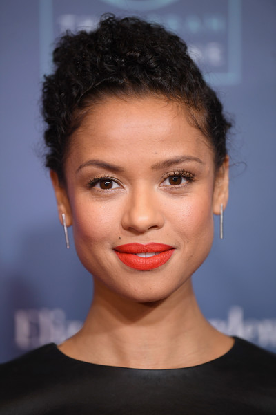 Gugu Mbatha-Raw Sterling Dangle Earrings [o the oprah magazine hosts special nyc screening of ``a wrinkle in time,a wrinkle in time,hair,face,lip,hairstyle,eyebrow,chin,forehead,head,beauty,cheek,gugu mbatha-raw,nyc,walter reade theater,screening]