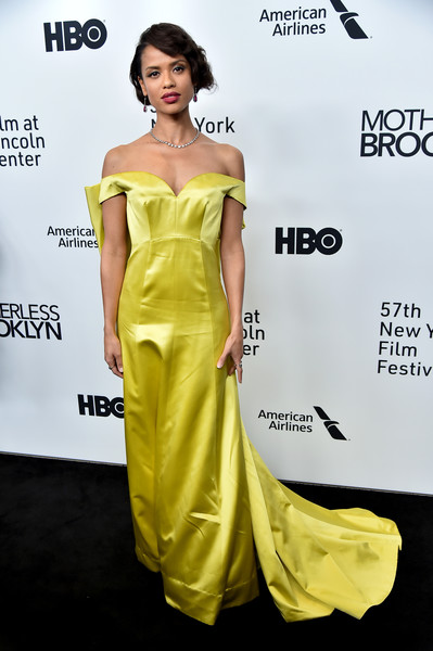 Gugu Mbatha-Raw Off-the-Shoulder Dress [motherless brooklyn,dress,clothing,fashion model,shoulder,yellow,carpet,hairstyle,joint,cocktail dress,fashion,arrivals,gugu mbatha-raw,new york city,new york film festival]