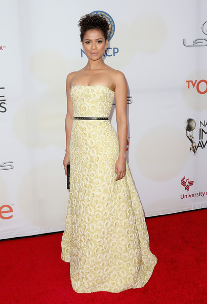 Gugu Mbatha-Raw Strapless Dress [fashion model,dress,clothing,red carpet,hair,gown,shoulder,carpet,strapless dress,waist,gugu mbatha-raw,naacp image awards,pasadena civic auditorium,california,tv one]