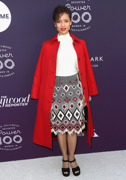 Gugu Mbatha-Raw Platform Sandals [the hollywood reporter,fashion model,fashion,flooring,formal wear,outerwear,carpet,catwalk,dress,fashion design,red carpet,gugu mbatha-raw,arrivals,california,los angeles,hollywood reporter,milk studios,women in entertainment breakfast]