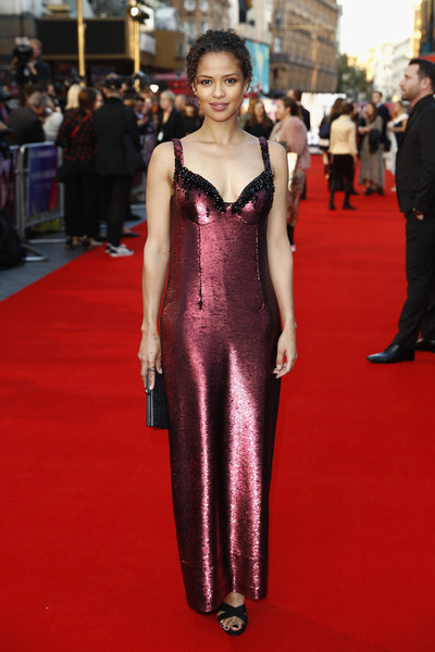 Gugu Mbatha-Raw Strappy Sandals [a private war european premiere,flooring,fashion model,carpet,fashion,red carpet,gown,cocktail dress,formal wear,girl,haute couture,mayor,gugu mbatha-raw,london,european,england,bfi london film festival,premiere,gala,gugu mbatha-raw,jamie dornan,2018 bfi london film festival,a private war,red carpet,london,suspiria,film,premiere,2018]