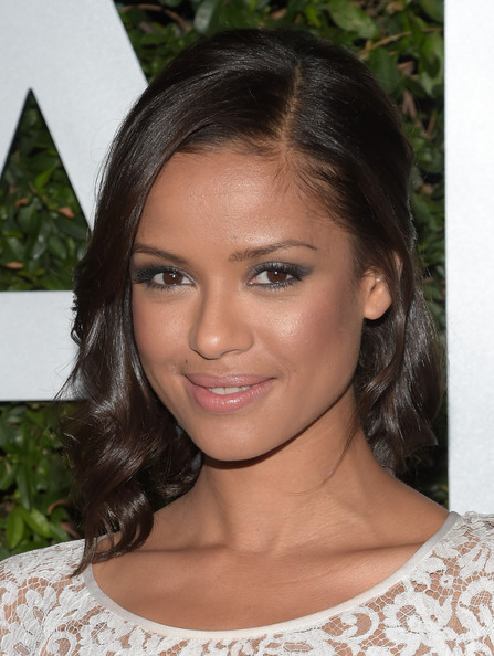 Gugu Mbatha-Raw Pink Lipstick [hair,face,eyebrow,hairstyle,lip,beauty,chin,black hair,brown hair,forehead,arrivals,gugu mbatha-raw,beverly hills,california,claiborne swanson frank,young hollywood,michael kors launch]