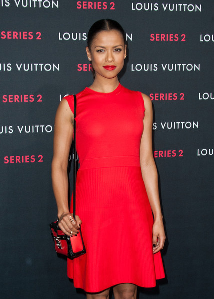 Gugu Mbatha-Raw Leather Shoulder Bag [series 2,dress,cocktail dress,clothing,red,fashion model,fashion,shoulder,premiere,pink,neck,exhibition - arrivals,gugu mbatha-raw,california,hollywood,louis vuitton,exhibition]