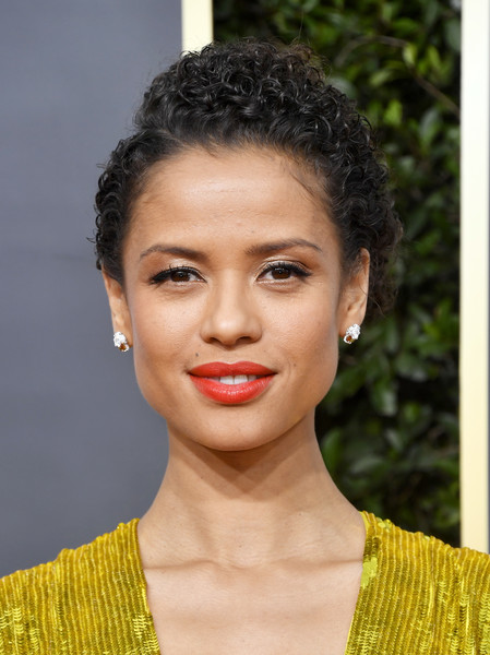 Gugu Mbatha-Raw Curly Updo [hair,face,lip,hairstyle,eyebrow,beauty,forehead,chin,skin,fashion,arrivals,gugu mbatha-raw,beverly hills,california,the beverly hilton hotel,golden globe awards,gugu mbatha-raw,the morning show,photograph,image,actor,stock photography,golden globe awards,livingly media,beauty]