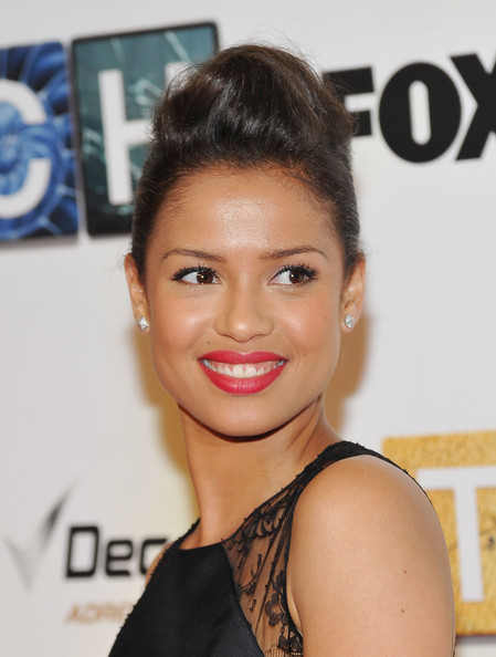 Gugu Mbatha-Raw Pompadour [hair,face,hairstyle,eyebrow,lip,skin,beauty,chin,shoulder,nose,touch,gugu mbatha-raw,premiere - arrivals,q a,american museum of natural history,new york city,premiere]