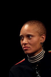Adwoa Aboah looked tough with her buzzcut and multiple piercings at the Gurls Talk event.