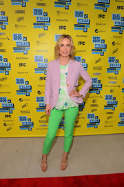 Radha Mitchell looked bright and ready for springtime with these lime green skinny pants.
