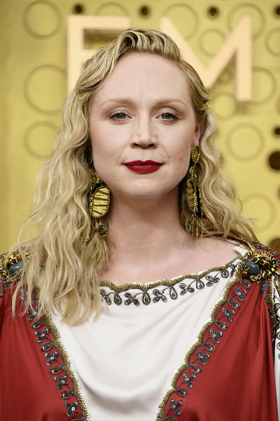 Gwendoline Christie Long Wavy Cut [hair,face,hairstyle,eyebrow,lady,blond,skin,beauty,lip,head,arrivals,gwendoline christie,emmy awards,microsoft theater,los angeles,california]