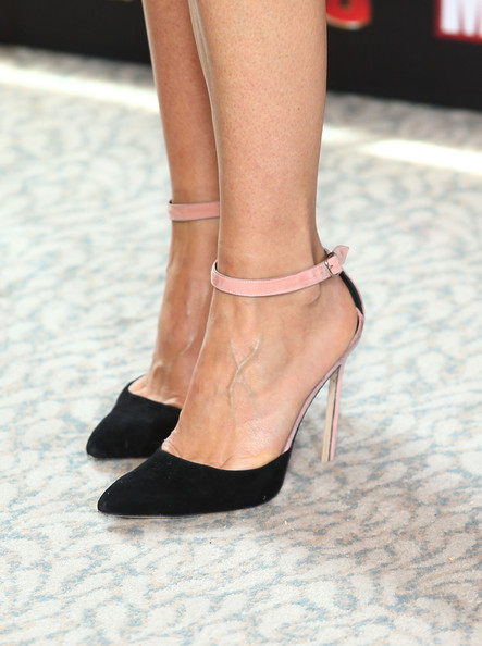 Gwyneth Paltrow Evening Pumps [iron man 3,footwear,high heels,leg,shoe,human leg,ankle,fashion,sandal,fashion model,joint,gwyneth paltrow,the dorchester,london,england,photocall]