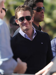 Matthew Morrison looked classically cool in a pair of aviator sunglasses with dark lenses.