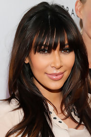 A light pink gloss added a dewy touch to Kim Kardashian's beauty look at Tracy Anderson's opening of her flagship studio.