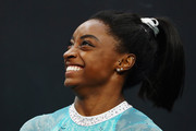 Simone Biles wore her hair in a cute ponytail at the 2018 U.S. Gymnastics Championships.