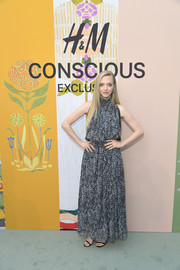 Amanda Seyfried looked summery in a printed halter maxi dress at the 2018 H&M Conscious Exclusive collection celebration.