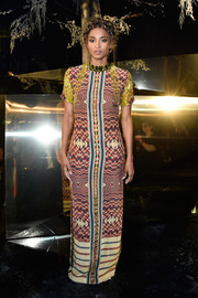 Ciara went hippie in a psychedelic-print maxi dress by H&M for the brand's fashion show.
